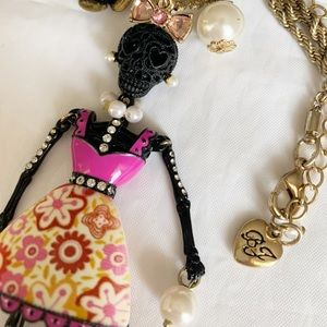Betsey Johnson Skull Girl Necklace